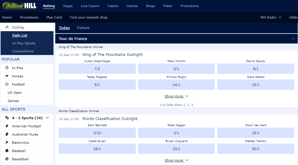 william hill cycling betting markets