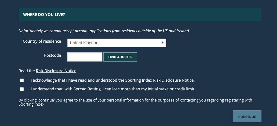 Sporting Index Registration
