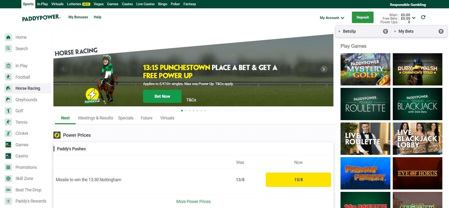 Paddy Power Horse Racing betting