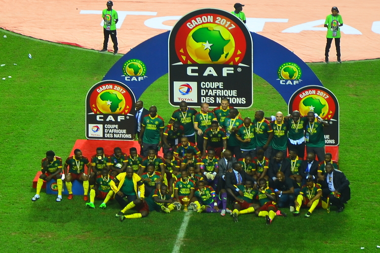 Cameroon celebrating winning 2017 Africa Cup of Nations