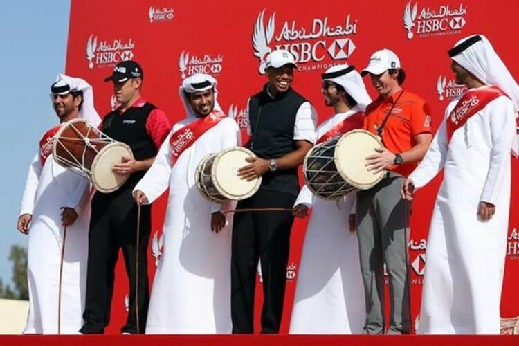 Lee Westwood and Tiger Woods in Abu Dhabi