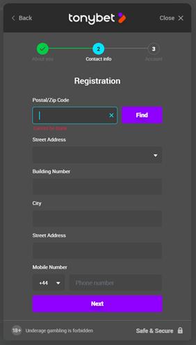 TonyBet Registration