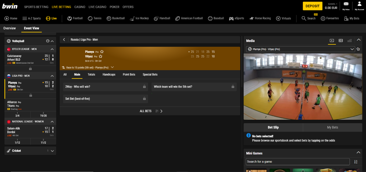 bwin volleyball livestream