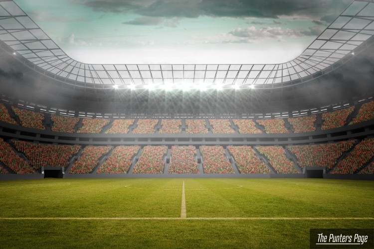 A football stadium captured from the middle of the field