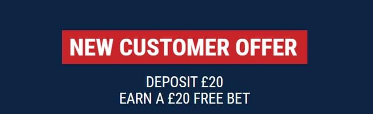 Marathon Bet new customer offer - Deposit £20 earn a £20 free bet
