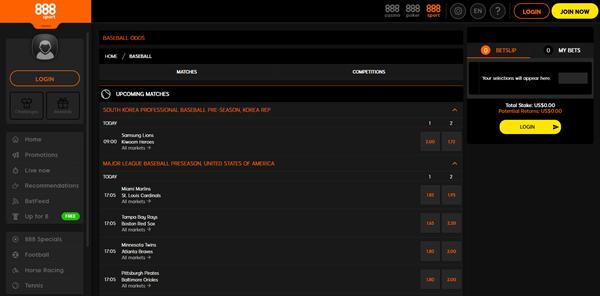 888sport Baseball Betting page