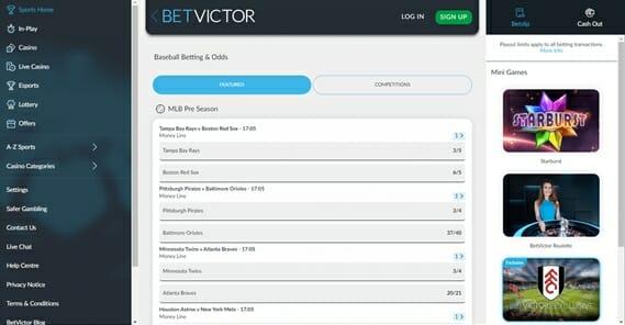 BetVictor Baseball Betting Page