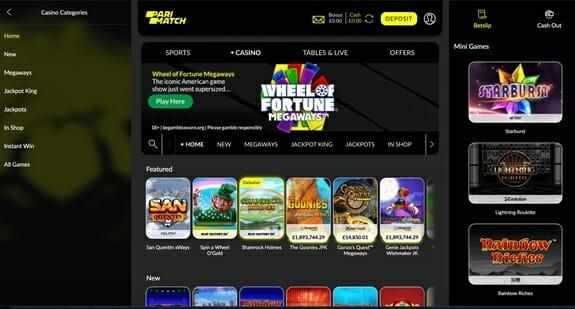 Parimatch Casino Homepage