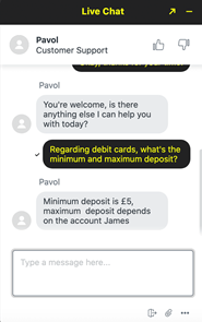 Parimatch live chat customer support