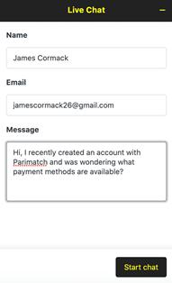 Parimatch live chat