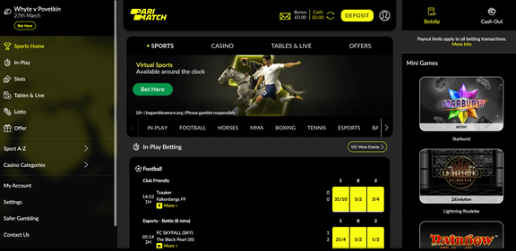 Parimatch Sports page