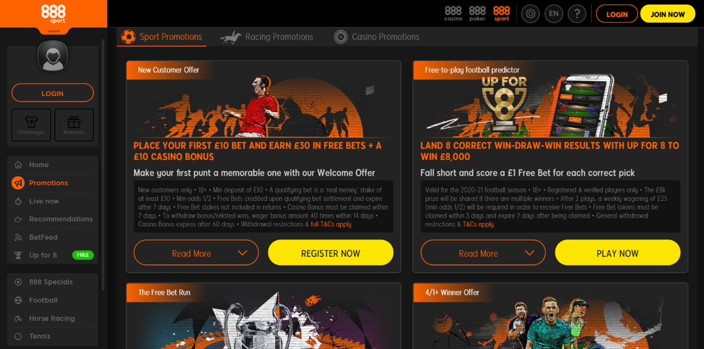 Screenshot of 888sport Promotional Page