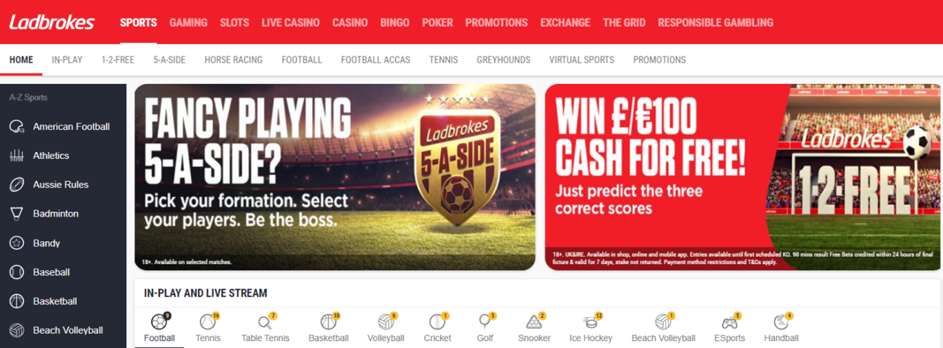 Screenshot of Ladbrokes Homepage with focus on Markets