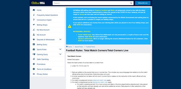 Screenshot of William Hill corner football rules