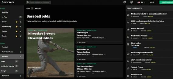 Smarkets Baseball Betting Page
