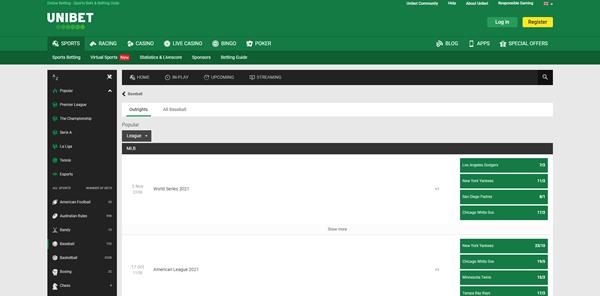 Screenshot of Unibet Baseball Betting Page
