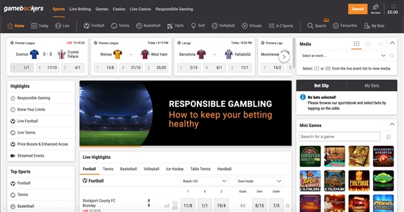 Gamebookers homepage