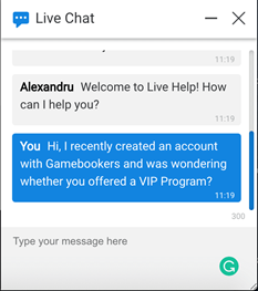 Gamebookers live chat welcome message