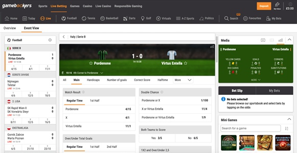 Gamebookers live offer