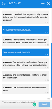 Gamebookers live chat messaging