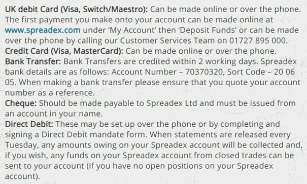Spreadex Payment Methods