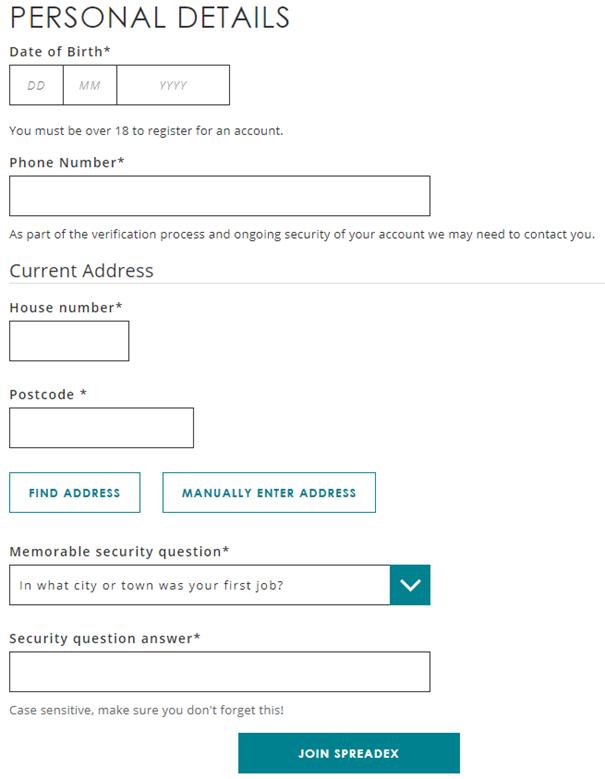 Spreadex Personal Details window