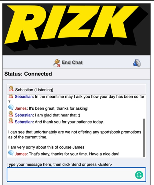 Rizk live chat screenshot