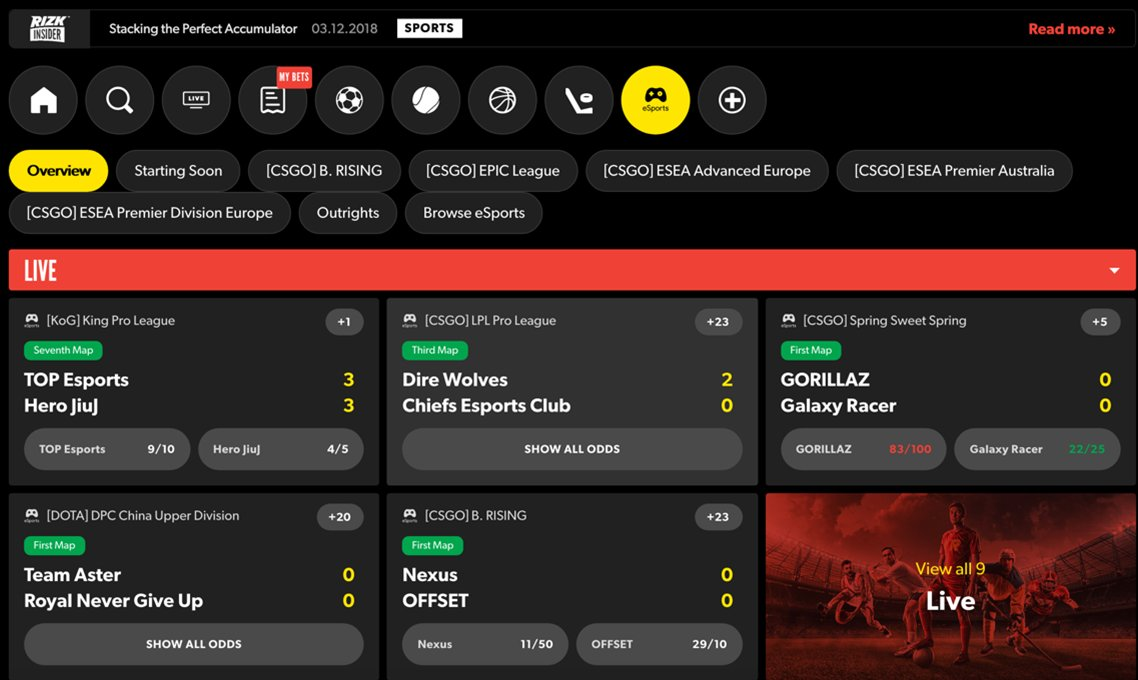 Rizk esports screenshot