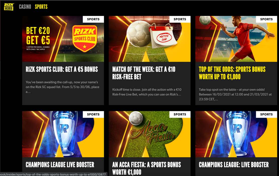 Rizk promotions screenshot