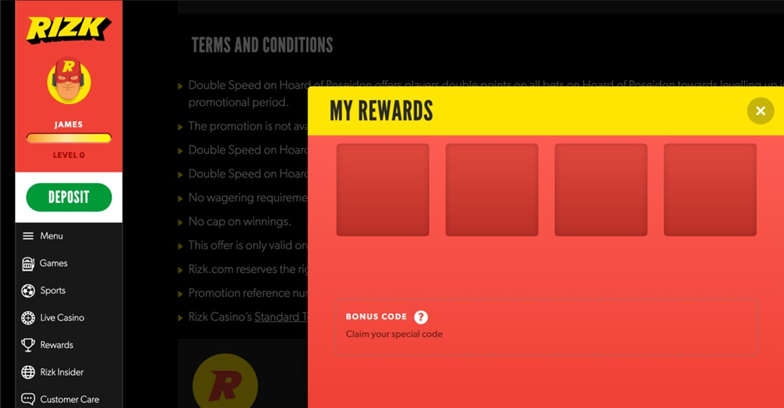 Rizk rewards screenshot