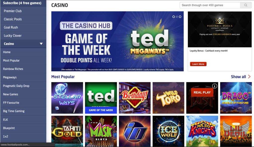 The Football Pools casino page