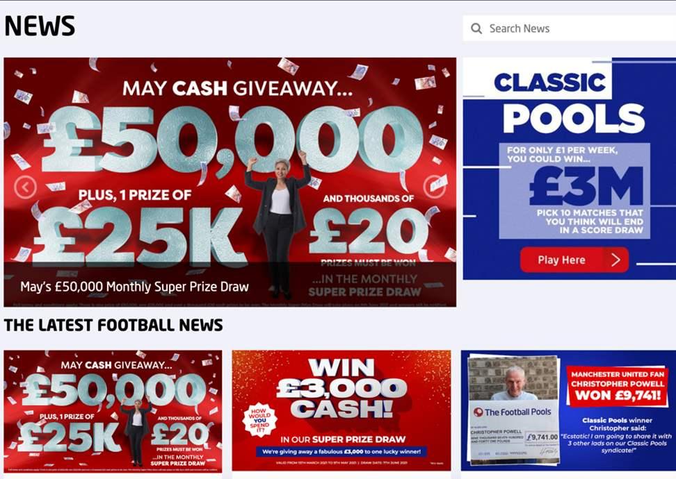 The Football Pools news page