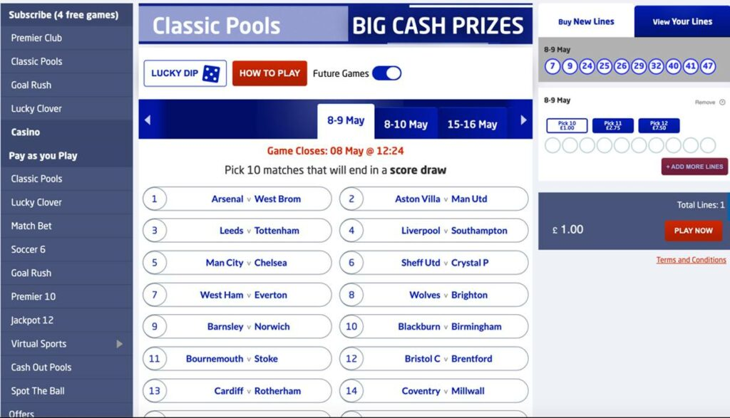 The Football Pools pre-match offer