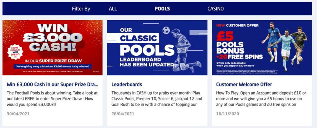 The Football Pools sportsbook promotions