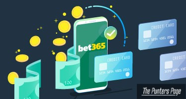 an illustration of a mobile phone with bet365 logo, cash, coins and credit cards