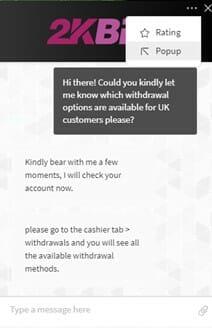 2kBet Chat Feature Screenshot