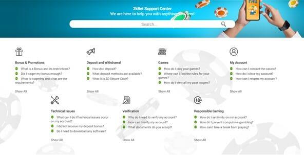 2kBet FAQ Section Screenshot
