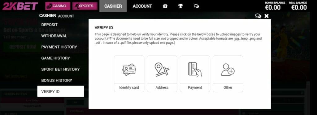 2kBet ID Verification Screenshot