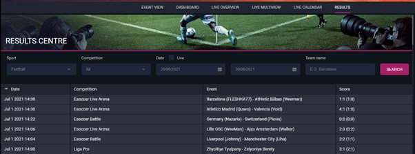 2kBet Results Centre Screenshot