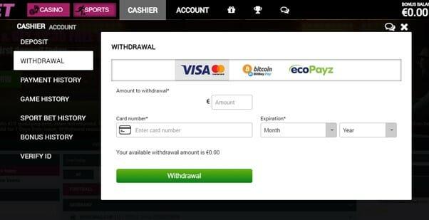 2kBet Withdrawal Options Screenshot