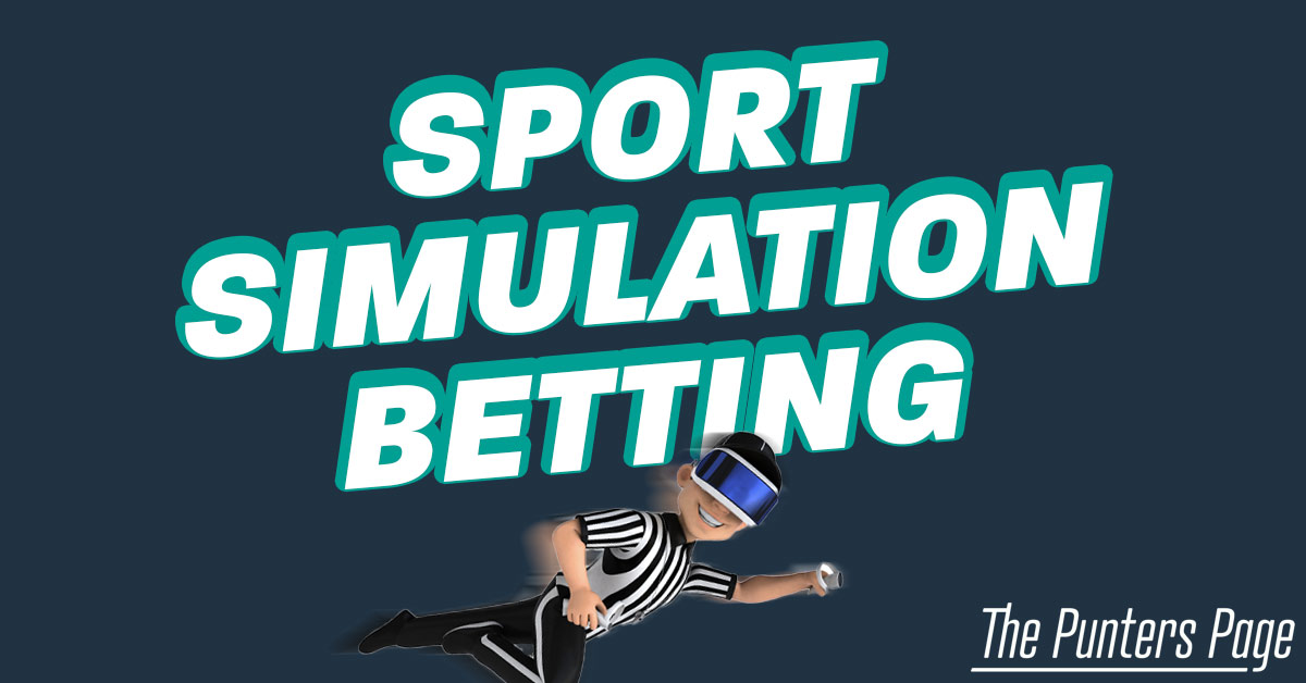 Sports Simulation Betting text and an illustration of referee