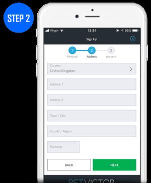 BetVictor - Registration; Step 2 Address Details