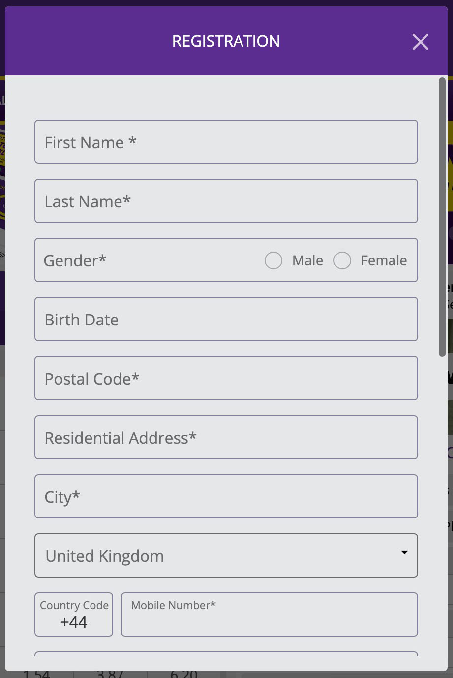HollywoodBets Registration Step 1