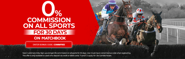 Matchbook Sign Up offer 0% Commission on all sports for 30 days