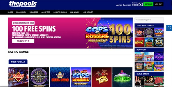 the pools casino games