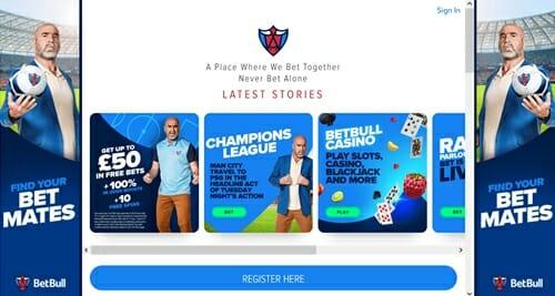 Screenshot of Betbull homepage