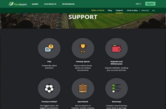 Support on fanteam screenshot